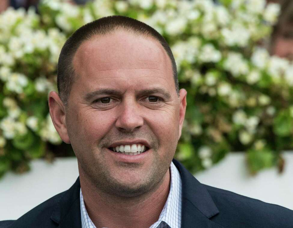 Trainer Chad Brown of Mechanicville is all smiles after tying the record for wins by a trainer at the meeting in the 7th race on the card at the Saratoga Race Course Friday Aug. 31, 2018 in Saratoga Springs, N.Y. (Skip Dickstein/Times Union)