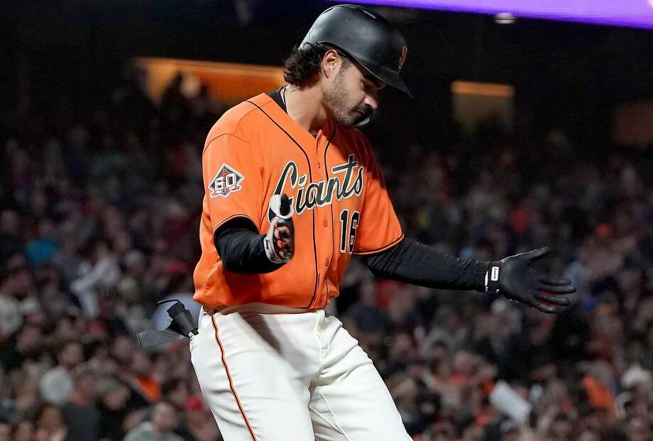 SAN FRANCISCO, CA - AUGUST 31:  Aramis Garcia #16 of the San Francisco Giants in his major league debut celebrates after hitting a solo home run against the New York Mets in the bottom of the eighth inning at AT&T Park on August 31, 2018 in San Francisco, California. The home run was his first major league hit.  (Photo by Thearon W. Henderson/Getty Images) Photo: Thearon W. Henderson / Getty Images
