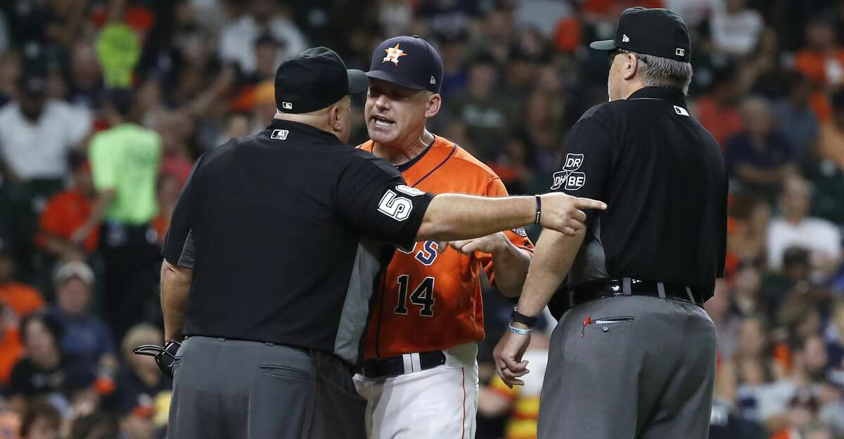 Houston Astros Manager AJ Hinch argues with and moments later ejected by HP umpire Eric Cooper during the fourth inning of an MLB baseball game at Minute Maid Park, Friday, August 31, 2018, in Houston.