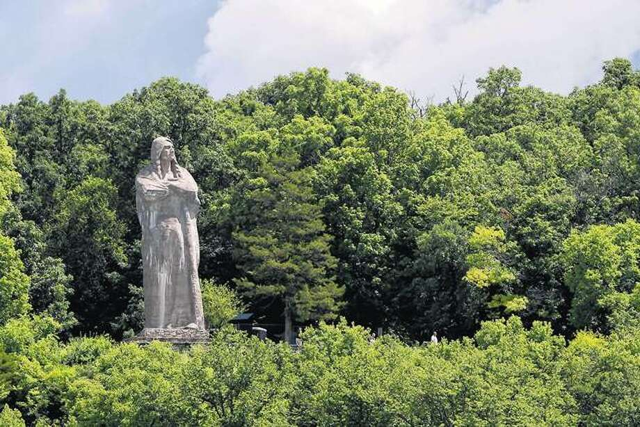 Chief Black Hawk is honored in a 40-foot statue by Lorado Taft above the bluffs of the Rock River in Oregon, Illinois.