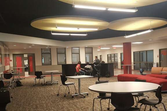 The collaboration spaces in Crosby High School provide study areas for students outside of the classrooms.