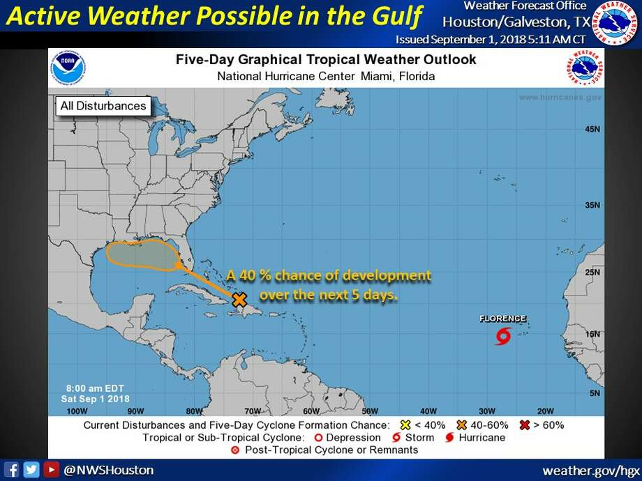 PHOTOS: Disturbing weather developingThe National Weather Service says there is a 40 percent chance that a weather system near the Turks and Caicos islands will develop into a tropical depression.>>>See before-and-after scenes one year after Hurricane Harvey ...  Photo: National Weather Service