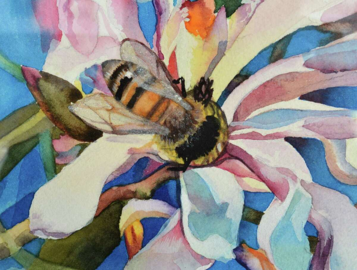 Detail of Olga Klymyk's watercolor 'Beginning of a new Life' in her exhibit at The Sidewalk Gallery on Thursday August 30 2018. The show is on view until September 30th in Norwalk Conn.