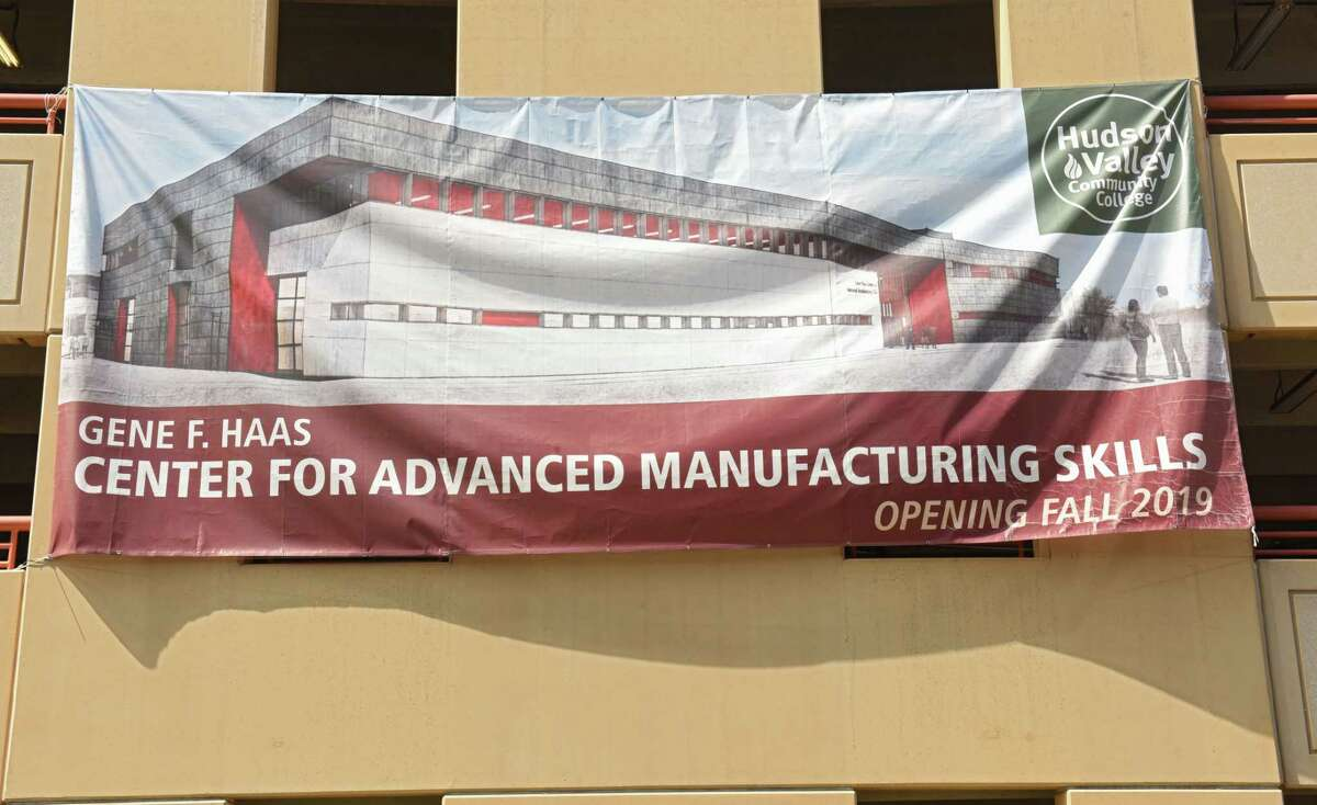 Banner on parking garage next to the Center For Manufacturing Skills building which is under construction at Hudson Valley Community College on Thursday, Aug. 30, 2018 in Troy, N.Y. (Lori Van Buren/Times Union)