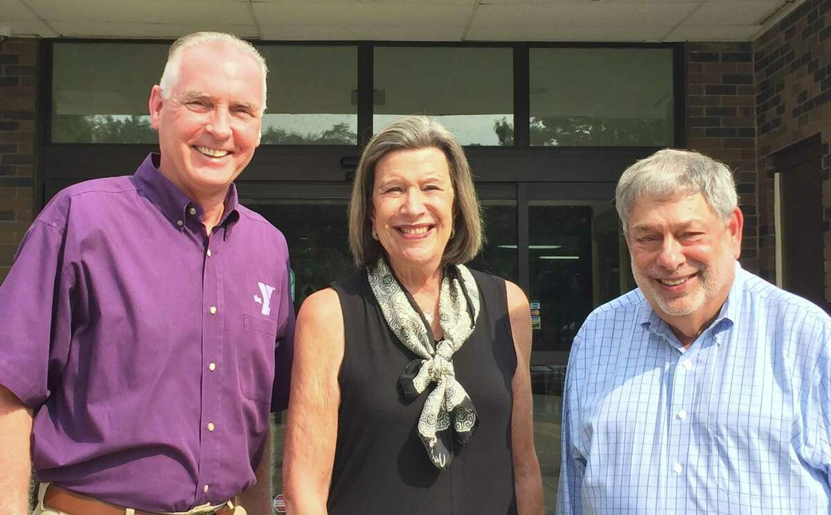 """Robert C. McDowell, CEO Riverbrook Regional YMCA, poses with Dr. Susan Weinberger and Richard """"Dick"""" Dubow, who will be honored with this year's Distinguished Citizen Awards."""