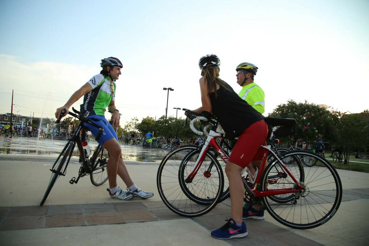 Hundreds of bicyclist of all different skill level tour the city for Critical Mass Houston, a casual bike ride Friday, Aug. 31, 2018.