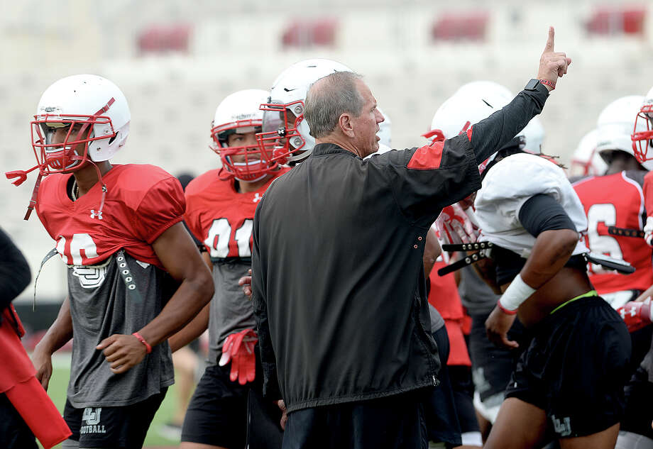 Lamar head coach Mike Schultz observes as the Cardinals run drills during practice to prepare for Saturday's home season opener against Kentucky Christian University.