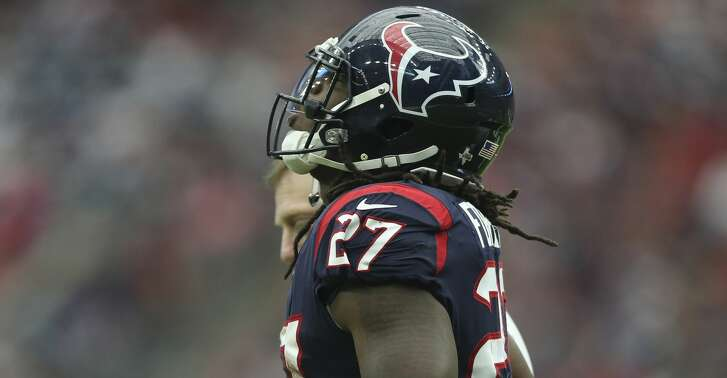 Houston Texans running back D'Onta Foreman (27) gets off the field after making a down for the team during the fourth quarter of an NFL football game at NRG Stadium on Sunday, Oct. 15, 2017, in Houston. Houston Texans defeated Cleveland Browns 33-17. ( Yi-Chin Lee / Houston Chronicle )