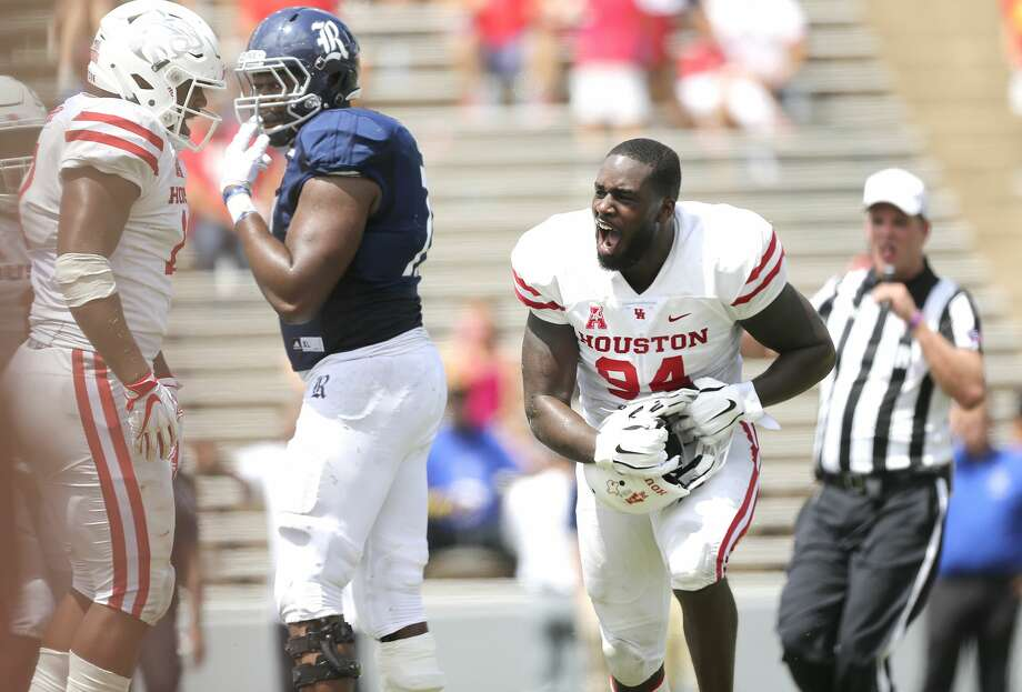 Houston Cougars defensive lineman Isaiah Chambers (94) reacts to a stop in the second half against the Rice Owls  at Rice Stadium on Saturday, Sept. 1, 2018 in Houston. Houston Cougars won the game 45-27. Photo: Elizabeth Conley/Staff Photographer