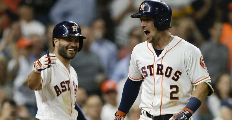 PHOTOS: Astros game-by-game Alex Bregman #2 of the Houston Astros celebrates with Jose Altuve #27 after hitting a three-run home run in the eighth inning against the Oakland Athletics at Minute Maid Park on August 27, 2018 in Houston, Texas.  (Photo by Bob Levey/Getty Images) Browse through the photos to see how the Astros have fared in each game this season. Photo: Bob Levey/Getty Images