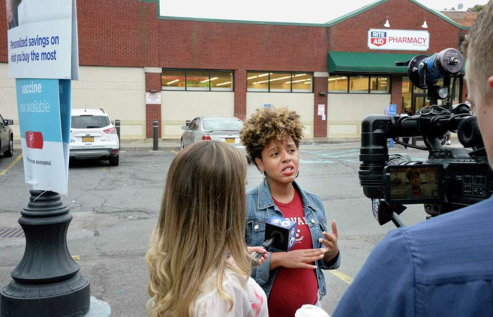 Dorcey Applyrs, Albany Common Council member, speaks with reporters about the planned closure of the Rite Aid in the South End of Albany Friday August 31, 2018 in Albany, NY. Rite Aid was recently taken over by Walgreens, and the decision was made following the merger. (John Carl D'Annibale/Times Union)