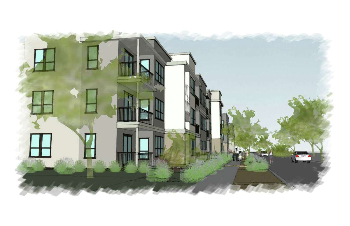 A rendering shows the conceptual design for the Artisan at Ruiz, an affordable housing development planned for the near West Side at the corner of Ruiz and North Elmendorf streets. The project is a joint endeavor of Franklin Development Properties and the San Antonio Housing Authority.