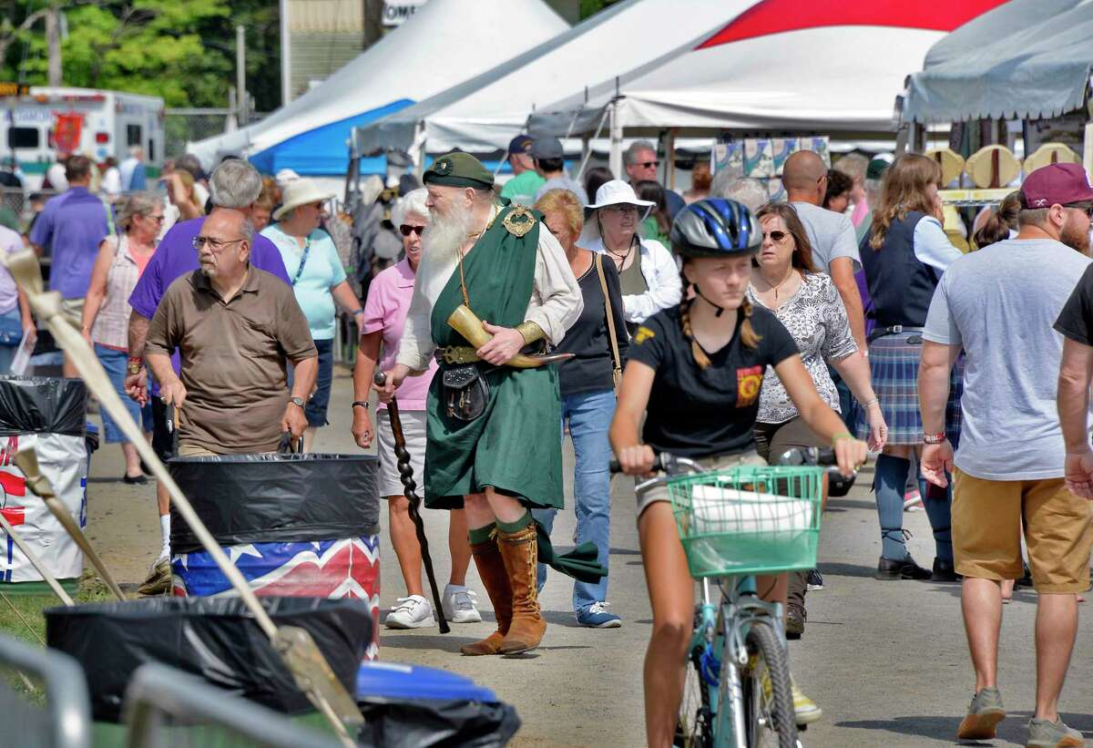 Festival goers look through vendor's booths at the Scottish Games Saturday Sept. 1, 2018 in Altamont, NY. (John Carl D'Annibale/Times Union)
