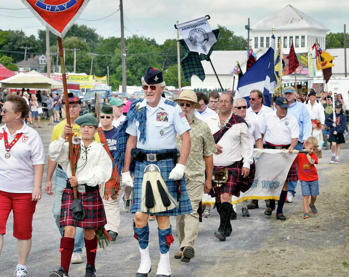 The Tartan parade during opening ceremonies at the Scottish Games Saturday Sept. 1, 2018 in Altamont, NY. (John Carl D'Annibale/Times Union)