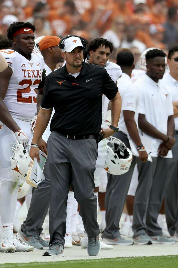 LANDOVER, MD - SEPTEMBER 1: Head coach Tom Herman of the Texas Longhorns looks on against the Maryland Terrapins at FedExField on September 1, 2018 in Landover, Maryland. (Photo by Rob Carr/Getty Images) Photo: Rob Carr/Getty Images