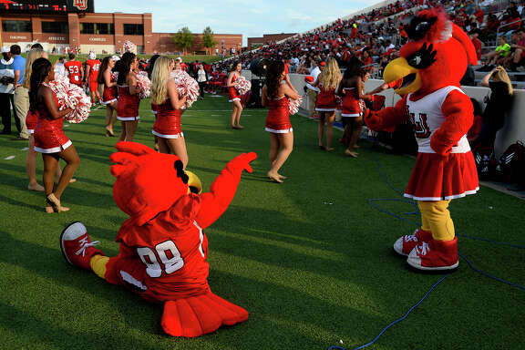 Lamar mascots Big Red and Lu as the Cardinals play against Kentucky Christian in their season opener at Provost-Umphrey Stadium.   Photo taken Saturday 9/1/18  Ryan Pelham/The Enterprise