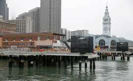 New ferry docks are under construction at the Ferry Building in San Francisco, Calif. on Friday, Aug. 31, 2018. The docks are raised significantly higher than the existing ones to compensate for rising sea levels.