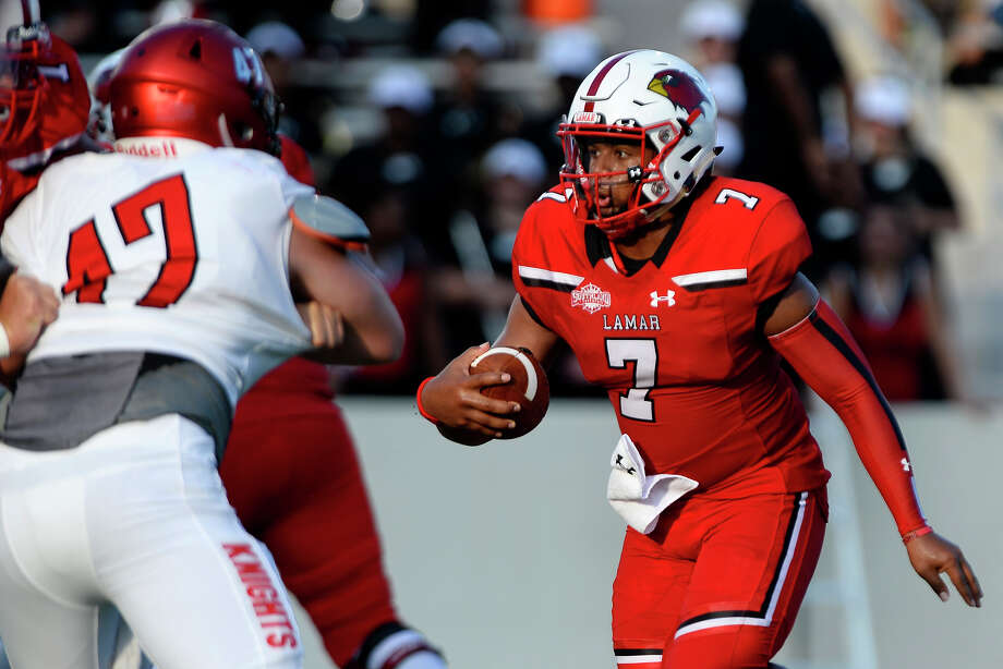 Lamar quarterback Darrel Colbert carries against Kentucky Christian in their season opener at Provost-Umphrey Stadium. 