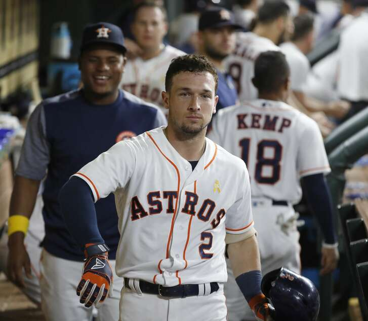 Houston Astros Alex Bregman (2) does a singular dugout stare challenge after his home run during the sixth inning of an MLB baseball game at Minute Maid Park, Saturday, September 1, 2018, in Houston.