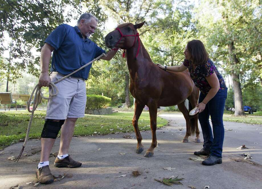 Erin Malia and Russ Gunther work with Ruby, a nine-year-old Mustang, at Malia's home on Wednesday in Magnolia. Photo: Jason Fochtman, Houston Chronicle / Staff Photographer / © 2018 Houston Chronicle