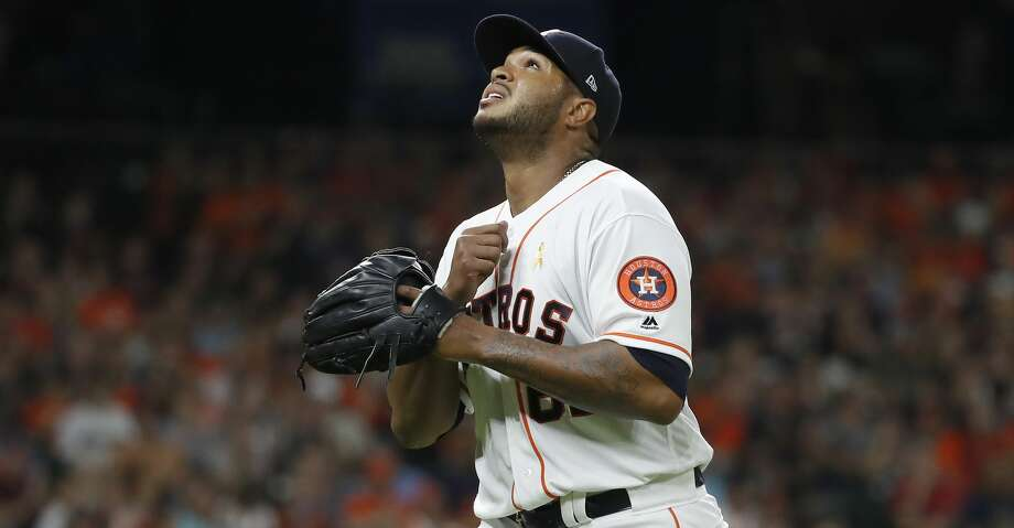 Houston Astros starting pitcher Josh James (63) reacts after the final out of the fifth inning of an MLB baseball game at Minute Maid Park, Saturday, September 1, 2018, in Houston. Photo: Karen Warren/Staff Photographer