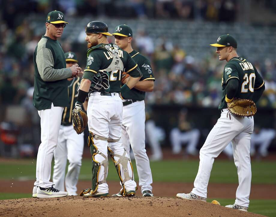 Oakland Athletics manager Bob Melvin, left, speaks to catcher Jonathan Lucroy as they wait for a new pitcher during the second inning of a baseball game against the Seattle Mariners on Saturday, Sept. 1, 2018, in Oakland, Calif. (AP Photo/Ben Margot) Photo: Ben Margot / Associated Press