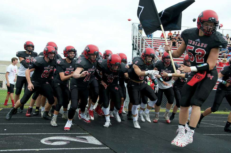 Glens Falls football players rally prior to their game against Schuylerville in Glens Falls's home opener on Saturday, Sept. 1, 2018 in Glens Falls, N.Y. (Jenn March, Special to the Times Union)