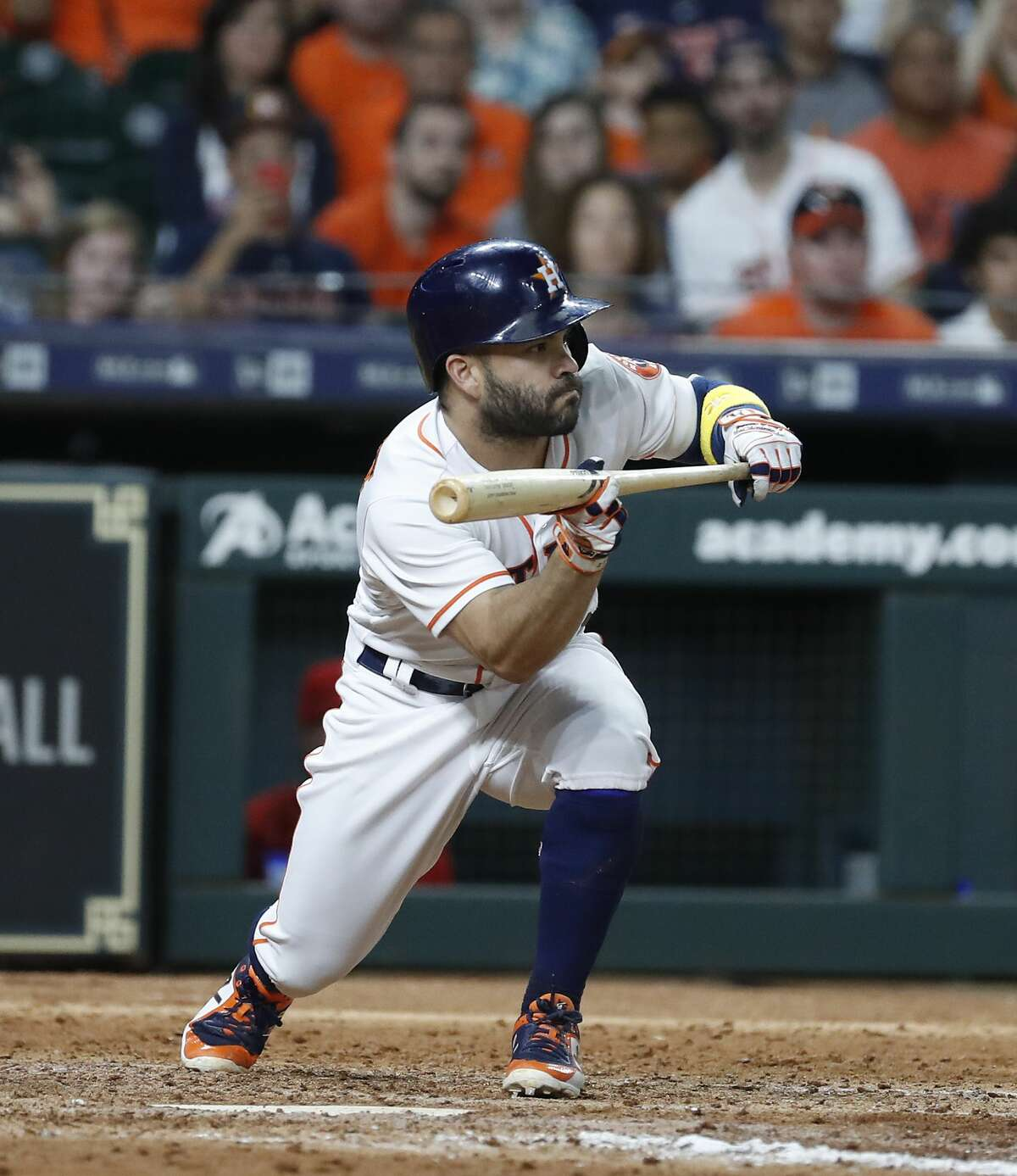 Houston Astros Jose Altuve (27) squares up to bunt during the eighth inning of an MLB baseball game at Minute Maid Park, Saturday, September 1, 2018, in Houston.