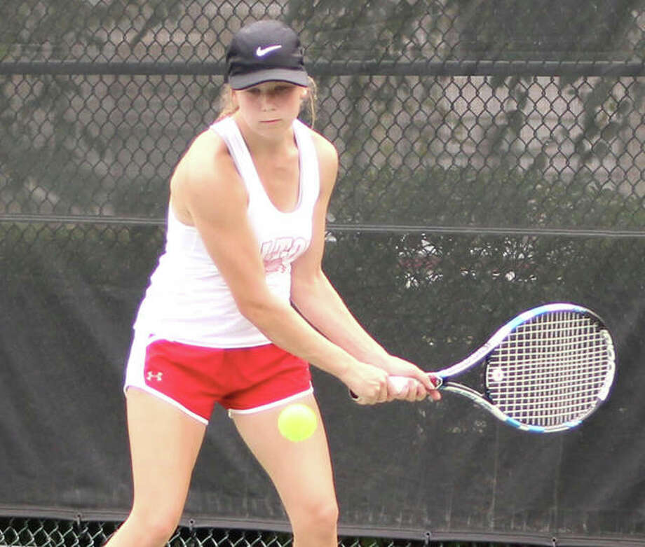 Alton's Nikki Lowe, shown in a match earlier this season, won the No. 3 singles title Saturday at the SHG Invitational girls tennis tournament in Springfield. Photo: Greg Shashack / The Telegraph
