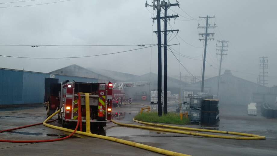 A two-alarm fire at a warehouse drew crews to the scene early Sunday. Photo: Metro Video