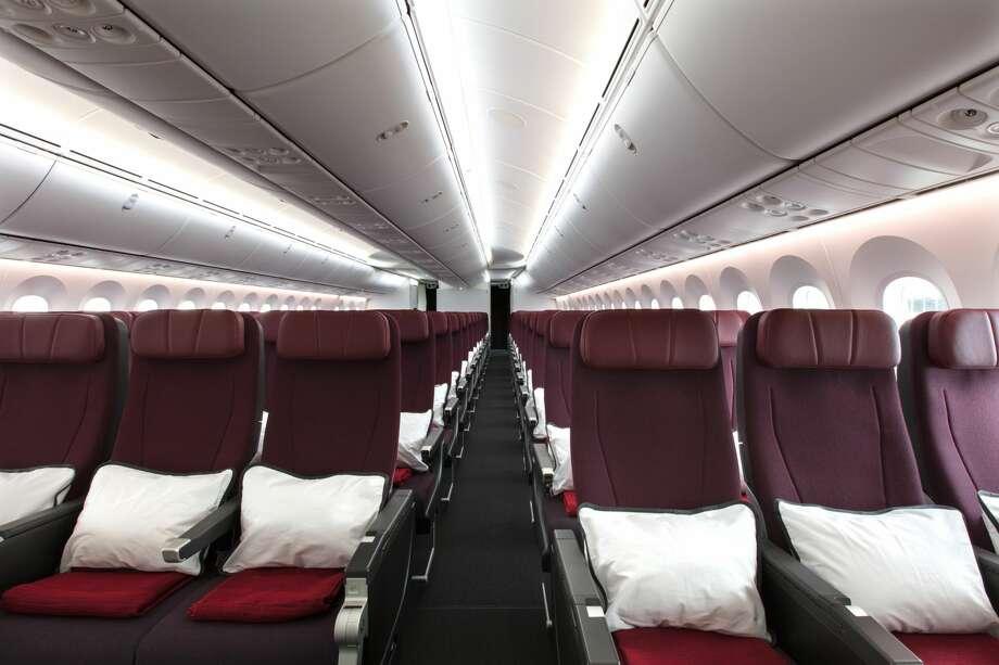 Qantas Airways Boeing 787-9 Dreamliner Economy cabin configured 3-3-3. Courtesy Qantas Airways. Photo: Brent Winstone, Qantas
