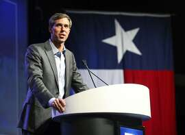 "FILE - In this June 22, 2018, file photo, Beto O'Rourke, who is running for the U.S. Senate, speaks during the general session at the Texas Democratic Convention in Fort Worth, Texas. If Senate seats were decided by viral videos and fawning national media profiles, O'Rourke would win in a landslide. He's gone viral defending NFL players' right to protest during the national anthem and skateboarding. So far, O'Rourke has capitalized on the hype machine. His fundraising's strong and he's going on ""Ellen."" But problems may lurk since voters sometimes punish candidates for too much ambition, especially if they've not won anything yet.  (AP Photo/Richard W. Rodriguez, File)"