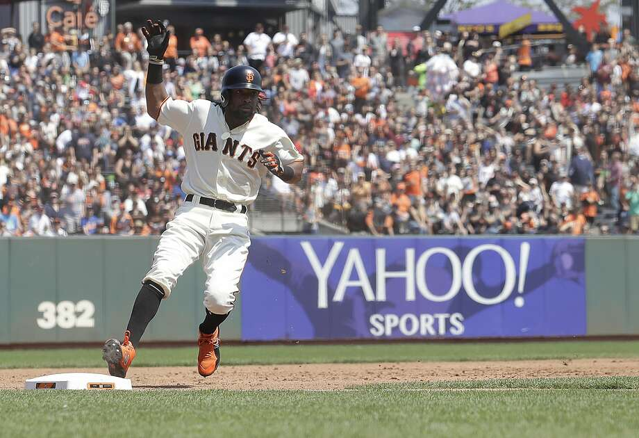 San Francisco Giants' Alen Hanson runs to third base on his triple during the third inning of a baseball game against the New York Mets in San Francisco, Sunday, Sept. 2, 2018. (AP Photo/Jeff Chiu) Photo: Jeff Chiu / Associated Press