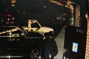 A suspect in at least two robberies in South San Francisco is caught on surveillance video.