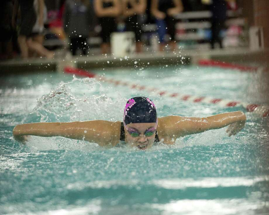 Marissa Healy of Staples wins the 100 meter butterfly during the FCIAC championship swim meet at Greenwich High School on Saturday, November 4, 2017. Photo: Lindsay Perry / For Hearst Connecticut Media / Greenwich Time Freelance