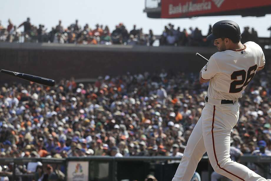 San Francisco Giants' Chris Shaw breaks his bat while flying out against the New York Mets during the fifth inning of a baseball game in San Francisco, Sunday, Sept. 2, 2018. (AP Photo/Jeff Chiu) Photo: Jeff Chiu, Associated Press