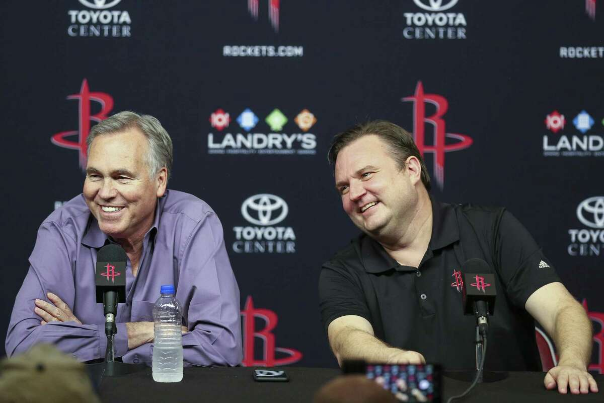 Houston Rockets head coach Mike D'Antoni, left, and general manager Daryl Morey speak at an end of the season press conference at the Toyota Center Wednesday, May 30, 2018 in Houston. (Michael Ciaglo / Houston Chronicle)