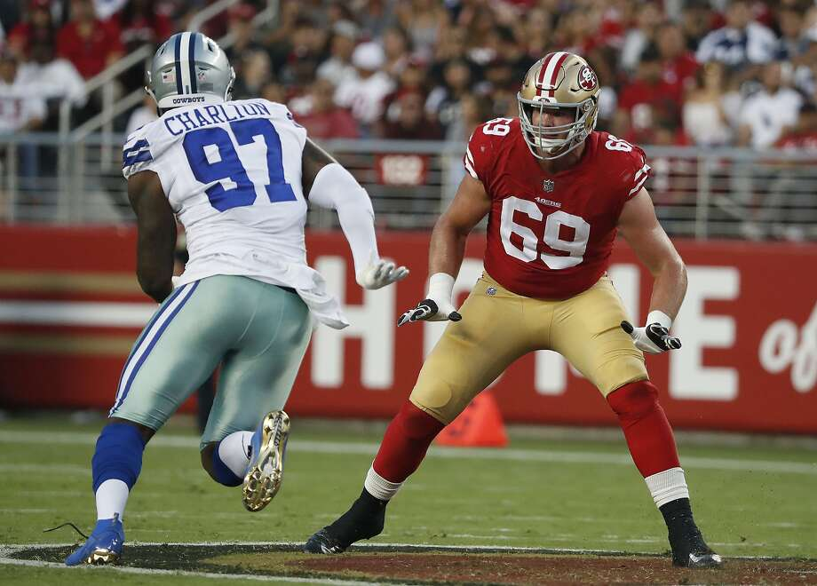 49ers rookie offensive tackle Mike McGlinchey blocks Dallas defensive end Taco Charlton during last month's exhibition opener in Santa Clara. Photo: Tony Avelar / Associated Press