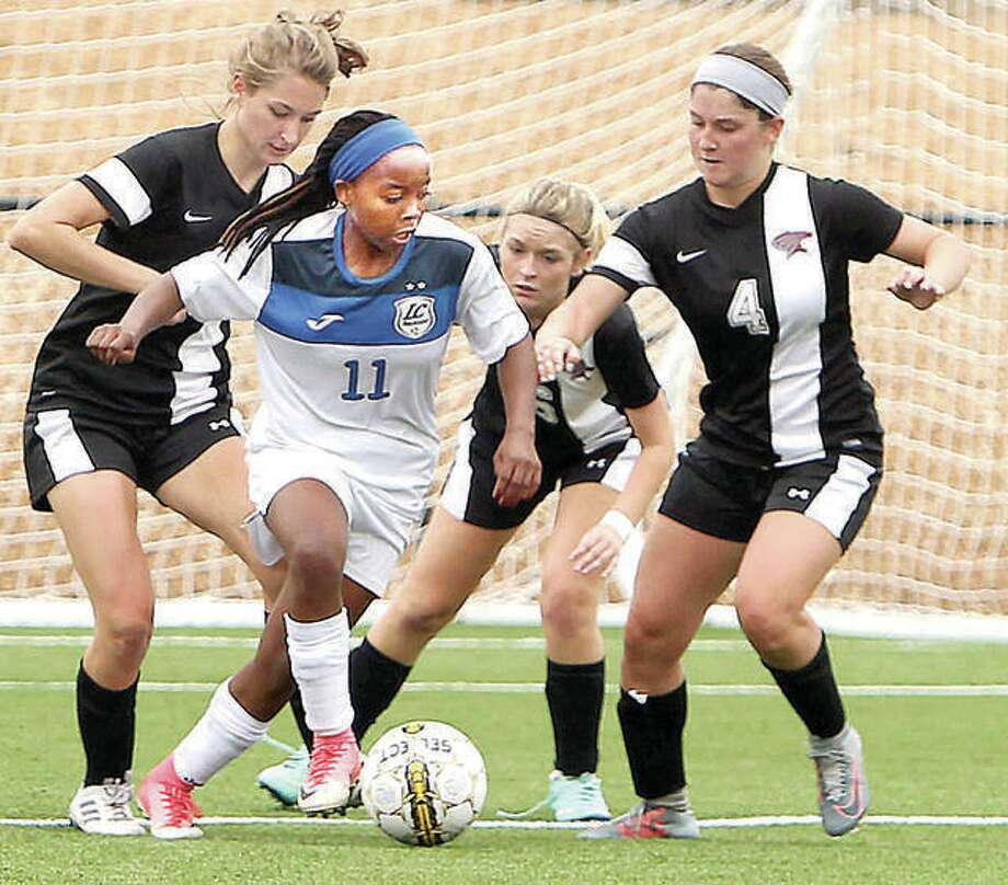 Senate Letsie of Lewis and Clark scored a pair of goals and added an assist in the Trailblazers' 3-1 victory over Johnson county Community College Sunday in Overland Park, Kan. Letsie, a sophomore, has scored five goals this season for 11th-ranked and 4-0 LCCC. Photo: Telegraph File Photo
