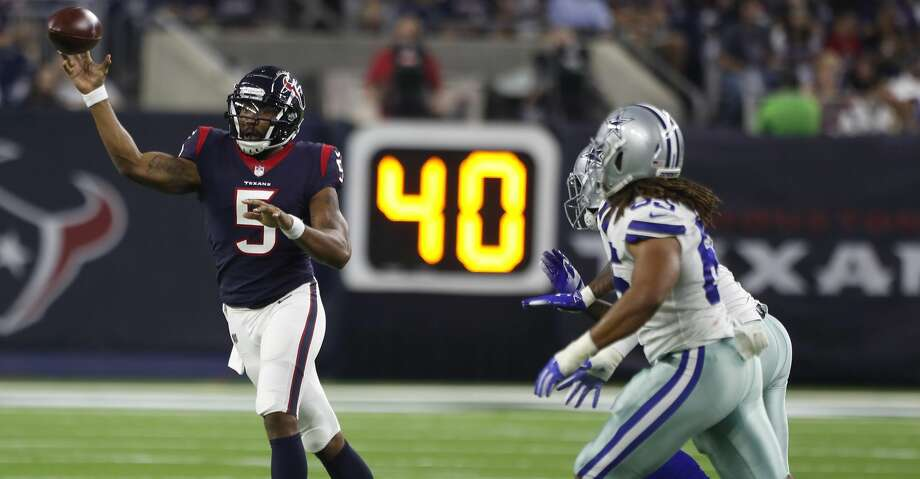 PHOTOS: A look back at the Texans' overtime win over the Cowboys in the 2018 regular season Houston Texans quarterback Joe Webb (5) throws a pass against the Dallas Cowboys during the first quarter of an NFL preseason football game at NRG Stadium on Thursday, Aug. 30, 2018, in Houston. Photo: Brett Coomer/Staff Photographer