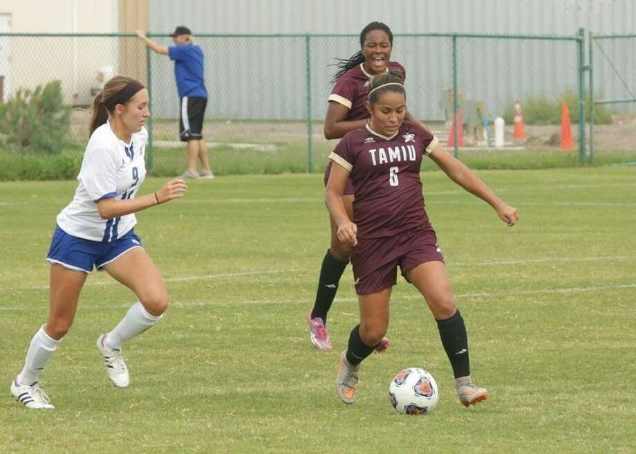 Samantha Ruiz had a goal Sunday and also was red carded along with coach Felipe Arias with less than four minutes remaining in a win at UTPB. Photo: Courtesy Of TAMIU Arthletics, File