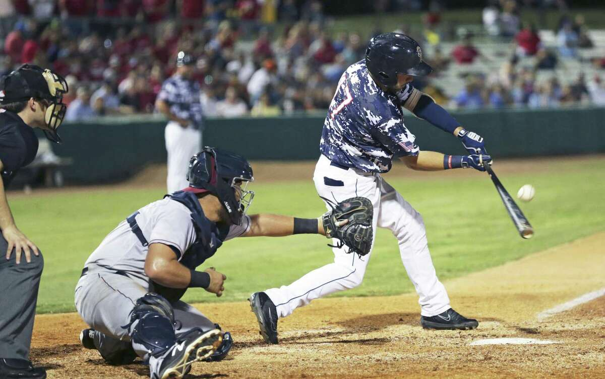 Matthew Batten takes a swing as the Missions host Frisco at Wolff Stadium on August 24, 2018.