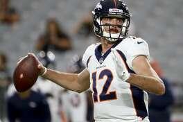 Denver Broncos quarterback Paxton Lynch warms up before a preseason NFL football game against the against the Arizona Cardinals Thursday, Aug. 30, 2018, in Glendale, Ariz. (AP Photo/Matt York)