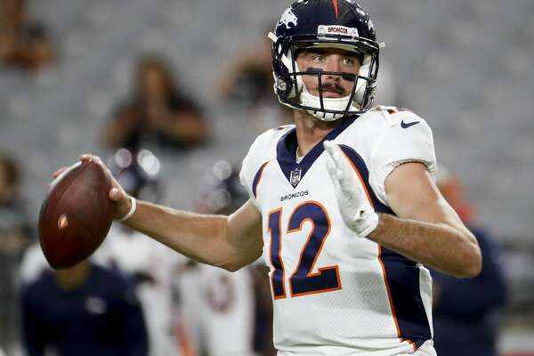 Denver Broncos quarterback Paxton Lynch warms up before a preseason NFL football game against the against the Arizona Cardinals Thursday, Aug. 30, 2018, in Glendale, Ariz. (AP Photo/Matt York)