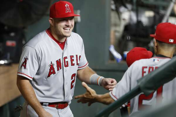 Los Angeles Angels Mike Trout (27) before the start of the first inning of an MLB baseball game at Minute Maid Park, Sunday, September 2, 2018, in Houston.
