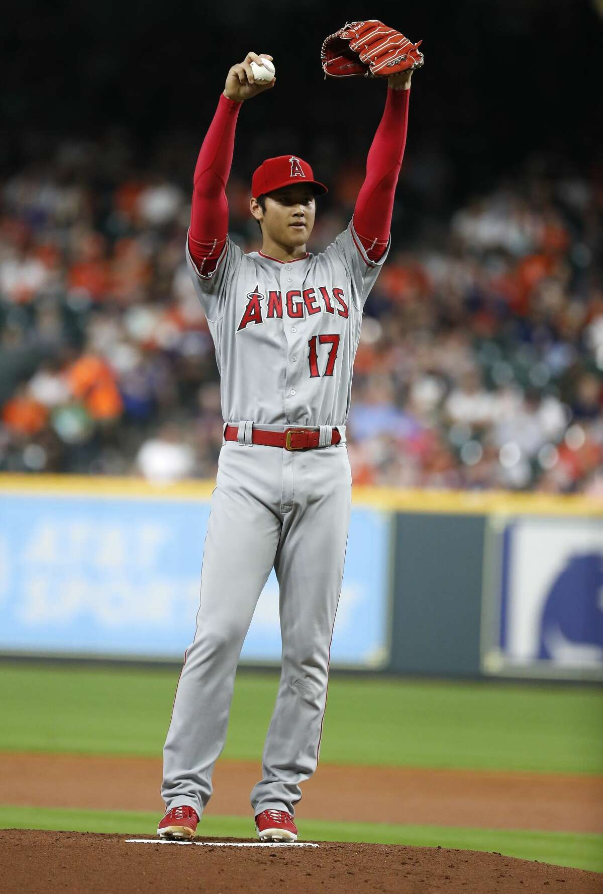 Los Angeles Angels starting pitcher Shohei Ohtani (17) between pitches during the first inning of an MLB baseball game at Minute Maid Park, Sunday, September 2, 2018, in Houston.