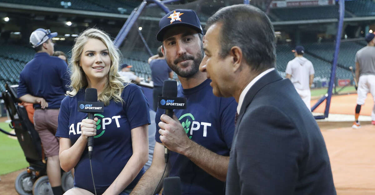 PHOTOS: Astros All-Stars, wives show their puppy love Justin Verlander and his wife, Kate Upton talk with Todd Kalas about the Grand Slam Adoption event during batting practice before the start of an MLB baseball game at Minute Maid Park, Friday, August 31, 2018, in Houston. >>>See more photos of Dog Day at Minute Maid ...