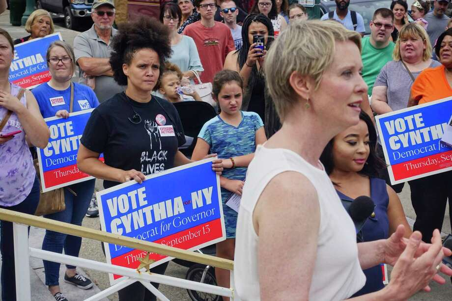 Candidate for governor, Cynthia Nixon, holds a rally on the steps of Schenectady City Hall on Sunday, Sept. 2, 2018, in Schenectady, N.Y.   (Paul Buckowski/Times Union) Photo: Paul Buckowski / (Paul Buckowski/Times Union)