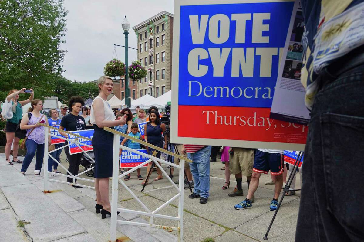 Candidate for governor, Cynthia Nixon, holds a rally on the steps of Schenectady City Hall on Sunday, Sept. 2, 2018, in Schenectady, N.Y. (Paul Buckowski/Times Union)