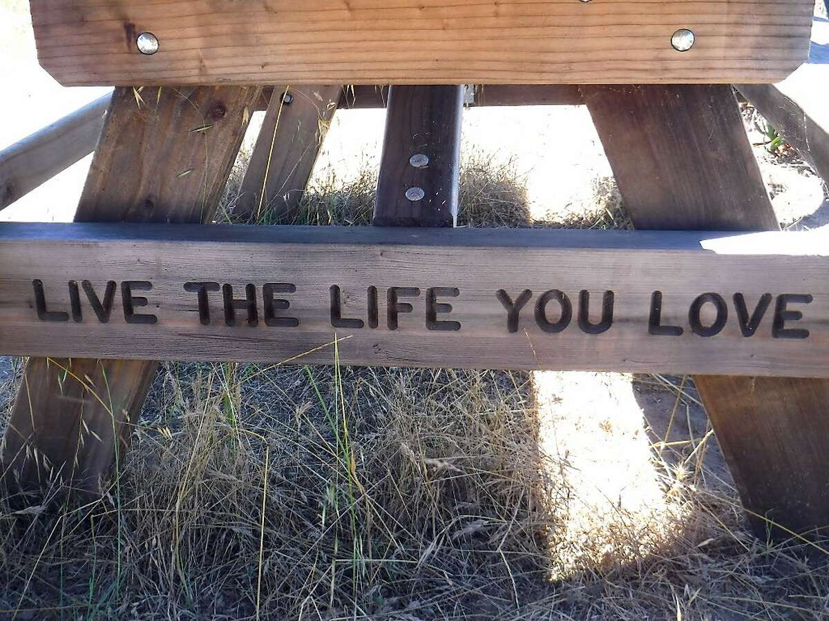 """""""Live The Life You Love"""" is the message at a picnic bench with a view of the Bay along Perimeter Road at Angel Island State Park."""